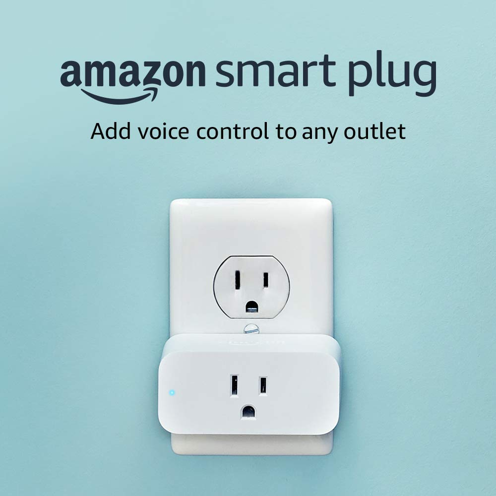 "Amazon smart plug with overlayed descriptive text ""Add voice control to any outlet"""